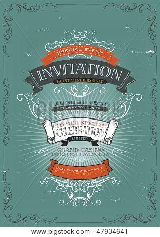Convite vintage Poster fundo