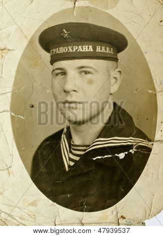 MOSCOW - USSSR, CIRCA 1937: Soldier in uniform of border troops NKVD ( NKVD - People's Commissariat of internal Affairs of the USSR)