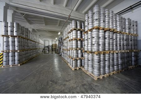 MOSCOW - OCT 16: Rows of beer kegs in stock brewery Ochakovo on October 16, 2012 in Moscow, Russia. Ochakovo is largest Russian company beer and soft drinks industry without foreign capital.