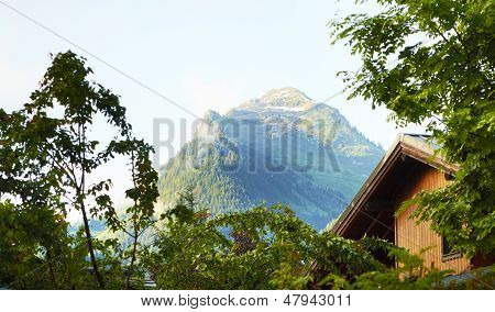 Shallet And Mountain View Landscape In The Alps