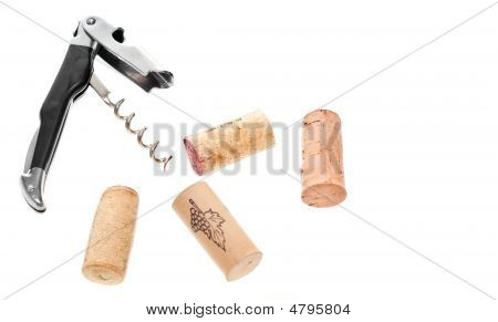 Corkscrew And Wine Corks