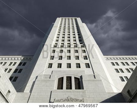 Thunderstorm sky over the Los Angeles city hall in Southern California.