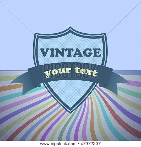 Shield Retro Vintage Label On Sunrays Background