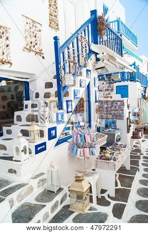 Detail image from a greek touristic shop on Mykonos island Greece poster