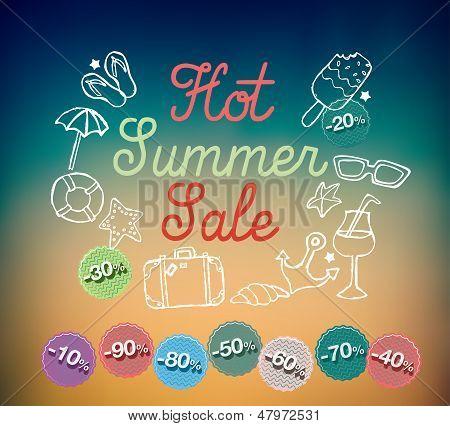 Hot summer sale banner vector illustration