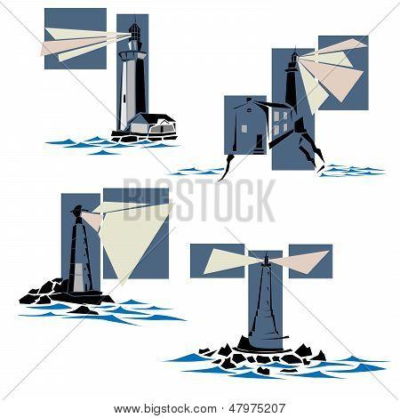 Set Of Lighthouse Icons.