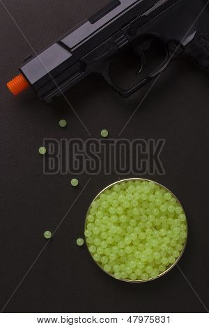Plastic bullet shooting guns used with air or gas. poster