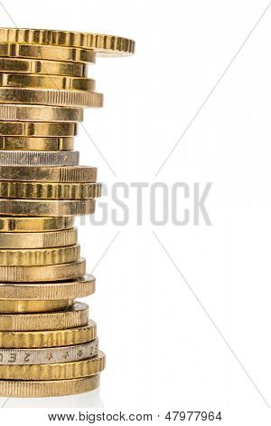 a stack of gold coins against a white background