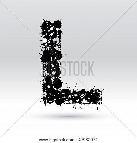 Letter L Formed By Inkblots