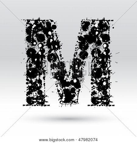 Letter M Formed By Inkblots