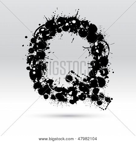 Letter Q Formed By Inkblots