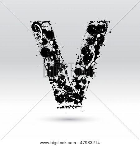 Letter V Formed By Inkblots