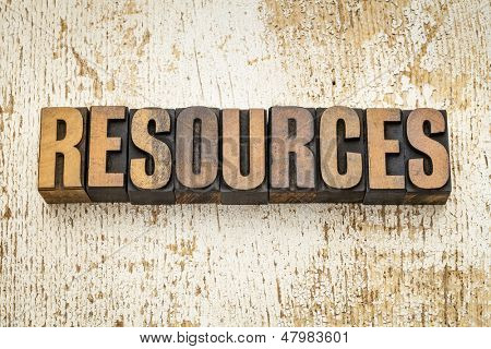 resources  word in vintage letterpress wood type on a grunge painted barn wood background