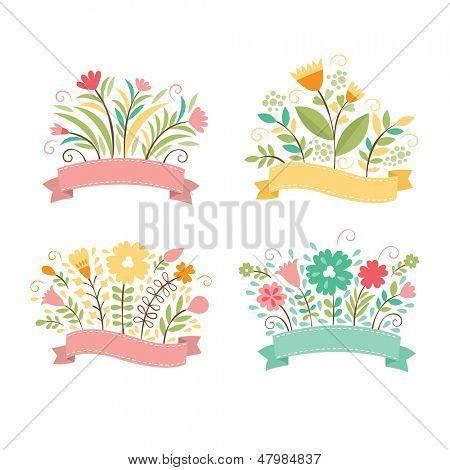 Set of floral bouquets , romantic composition, vector collection