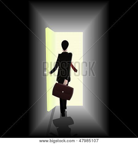 Businessman Walking Towards Open The Door Showing Opportunity