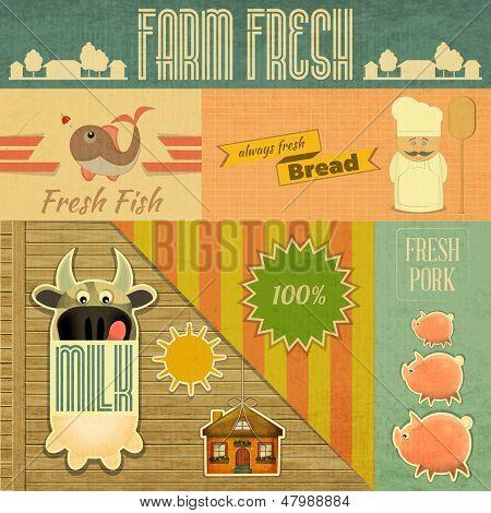 poster of Farm Fresh Organic Products. Vintage Card Retro Farm Food Emblems. Vector Illustration.