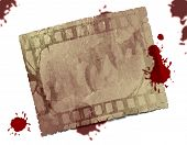 Textured rectangle with blood drops on white background poster