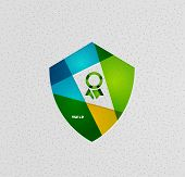Colorful protection shield vector paper design concept poster