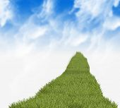 green grass path and blue sky - illustration poster