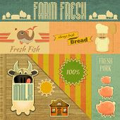 Farm Fresh Organic Products. Vintage Card Retro Farm Food Emblems. Vector Illustration. poster