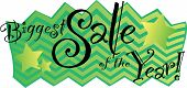 Biggest Sale of the Year! graphic with green and yellow chevron stars stars poster