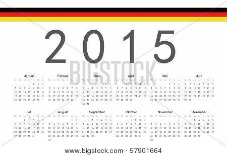 German 2015 Year Vector Calendar