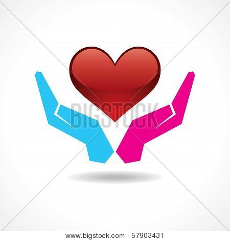 Male and female hand together protect a heart
