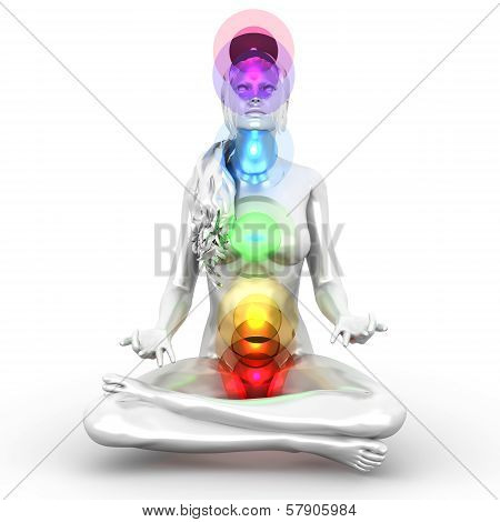 A woman performing a full chakra meditation. 3D rendered illustration. poster