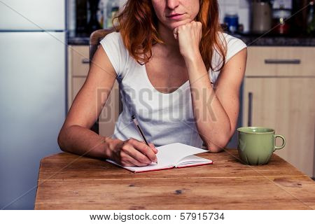 Woman Makng A Shopping List In Her Kitchen