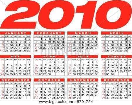 Calendar for year 2010