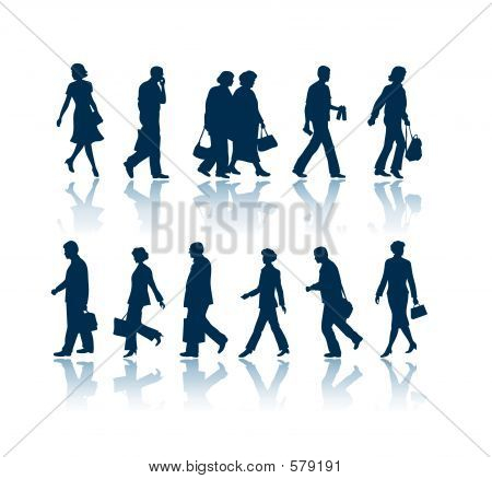Walking People Silhouettes