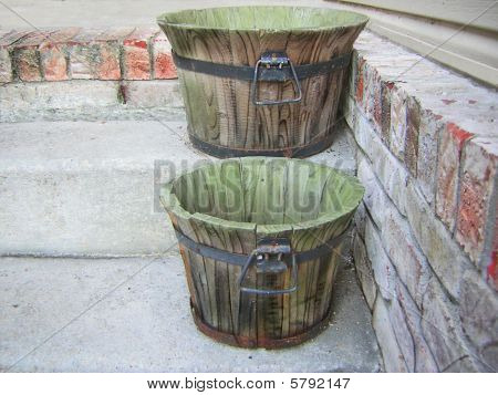 Wooden Rustic Buckets Concrete Steps