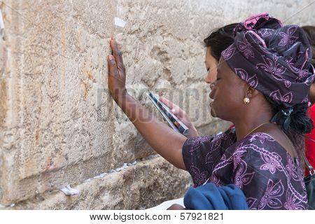 Jerusalem, Israel - March 14, 2006: A Woman Prays At The Wailing Wall.