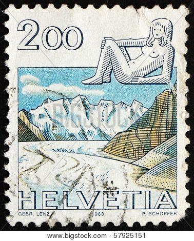 Postage Stamp Switzerland 1983 Virgo, Jungfrau Monch Eiger Mountains