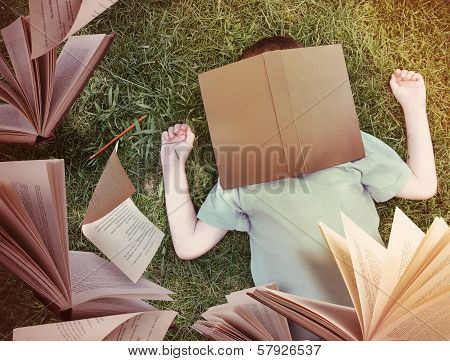 Flying Books Around Sleeping Boy In Grass