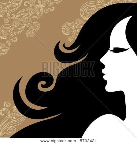 Closeup decorative vintage woman with beautiful long hair