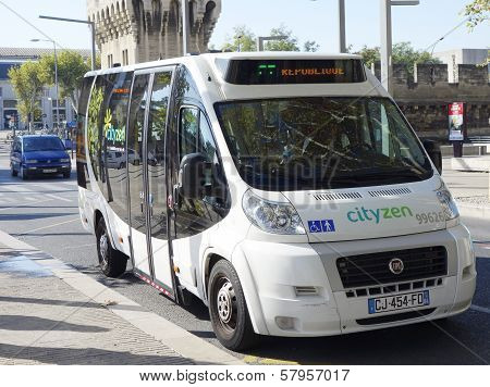 New shuttle bus Cutyzen in medieval part of Avignon, France