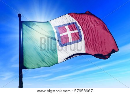KKingdom of Italy flag waving on the wind