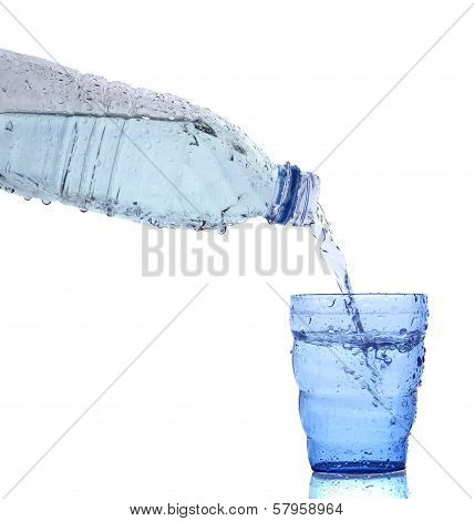 Freshness Cool And Clean Drinking Water Pouring To Blue Glass Isolated On White Background Use For H