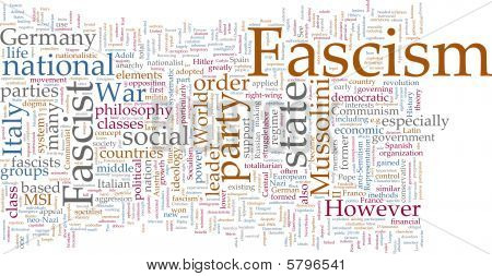 Word cloud concept illustration of fascism fascist poster