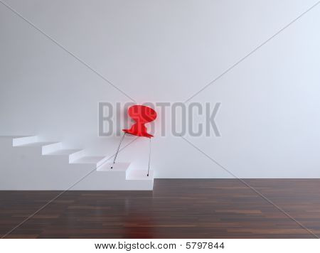 Red Chair on a blank wall
