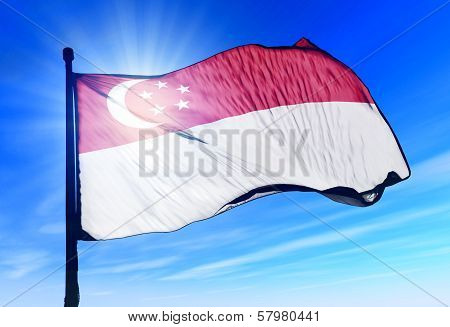 Singapore flag waving on the wind