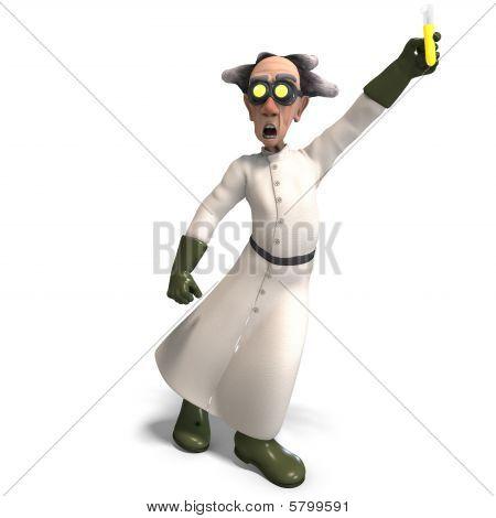 Mad Scientist With Dangerous Fluid