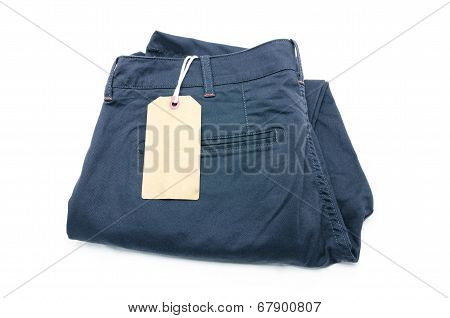 New Trouser And Tag Isolated On White