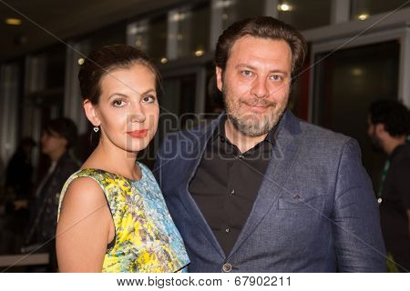 MOSCOW - JUNE, 26: Writer S. Minaev with wife. Movie Premiere Yes and Yes. 36st Moscow International Film Festival at Octyabr Cinema. June 26, 2014 in Moscow, Russia