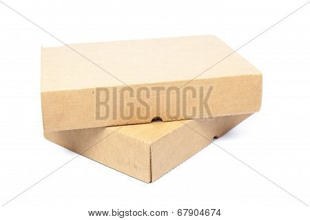 Two Brown Boxes On White Isolated Background.