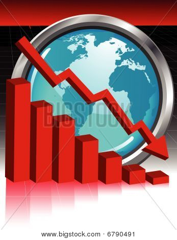 Red Graph with World - vector illustration