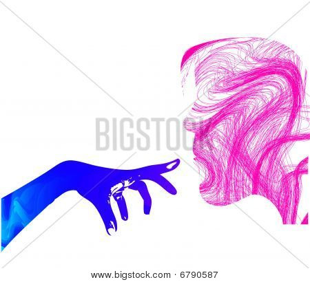 Girl face silhouette with hand on white background poster