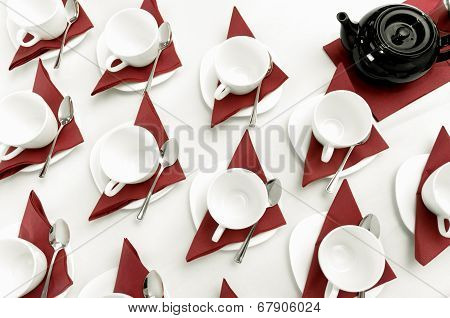 set of empty cups fo tea
