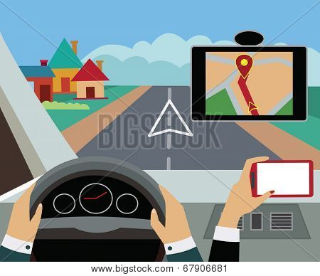 Using navigator with modern maps and applications in the car. Modern  vector illustration, flat-concept